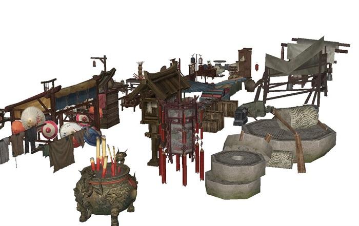 一組古典中式風格古鎮商鋪小吃攤人物與擺件su模型(3)