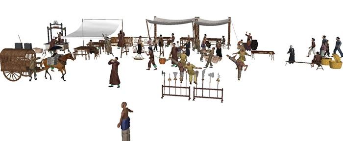 一组古典中式风格古镇商铺小吃摊人物与摆件su模型(5)