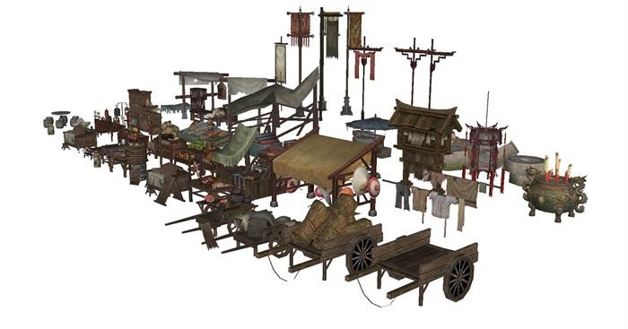 一組古典中式風格古鎮商鋪小吃攤人物與擺件su模型(6)