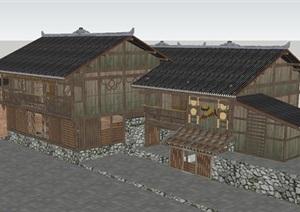 彝族乡村民宿建筑设计方案SU(草图大师)模型