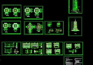006-七层仿古佛塔建筑施工图