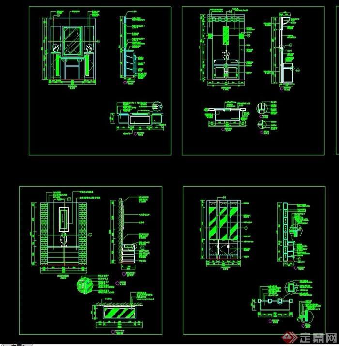 詳細的室內門廳設計cad施工圖