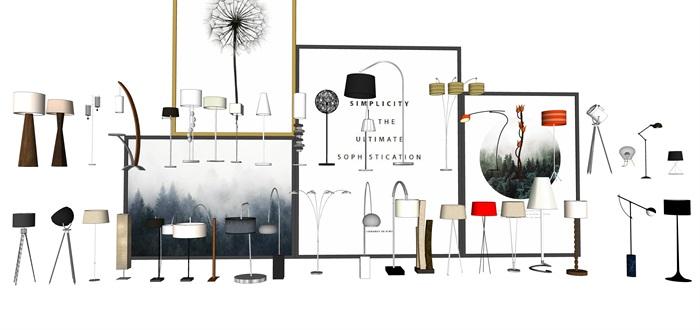 各种灯具台灯落地灯SU素材模型集合(1)