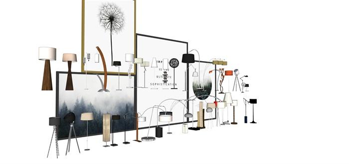 各种灯具台灯落地灯SU素材模型集合(2)