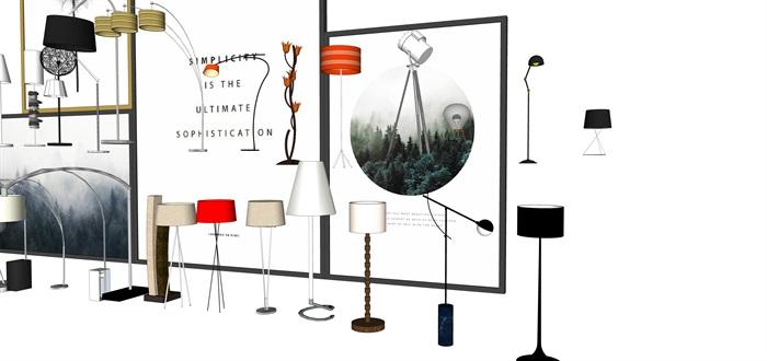 各种灯具台灯落地灯SU素材模型集合(3)