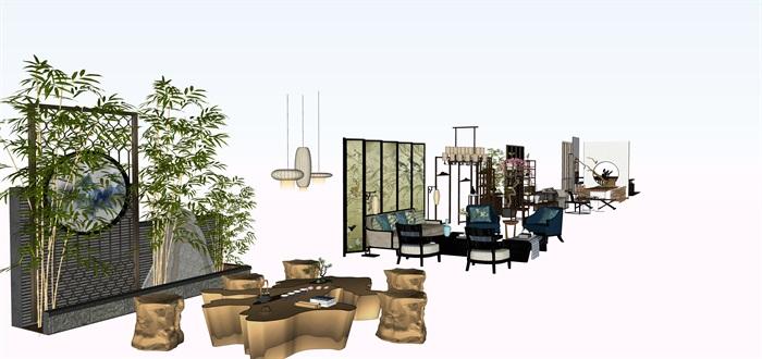新中式茶桌摆件家具su素材模型资料(1)
