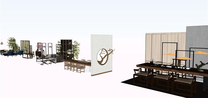 新中式茶桌摆件家具su素材模型资料(2)