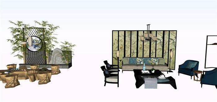 新中式茶桌摆件家具su素材模型资料(3)