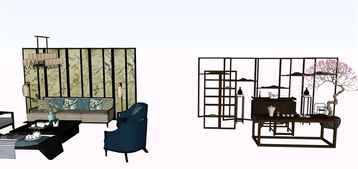 新中式茶桌摆件家具su素材模型资料(4)