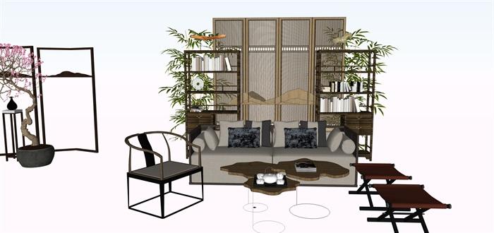 新中式茶桌摆件家具su素材模型资料(5)