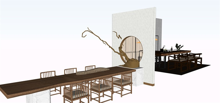 新中式茶桌摆件家具su素材模型资料(6)