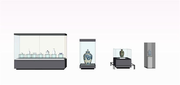 陶瓷展览柜子和陶罐su素材模型(1)
