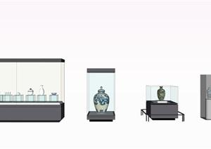 陶瓷展览柜子和陶罐SU(草图大师)素材模型