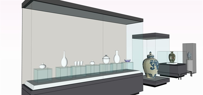 陶瓷展览柜子和陶罐su素材模型(2)