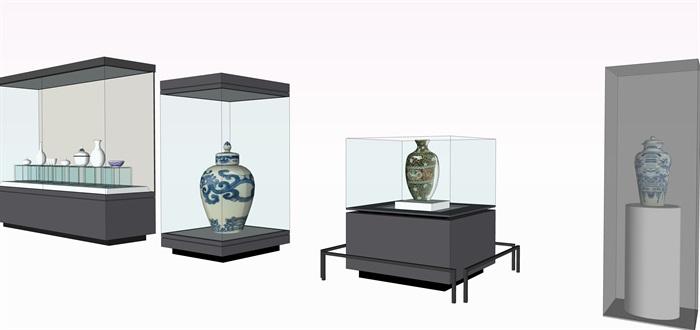 陶瓷展览柜子和陶罐su素材模型(3)
