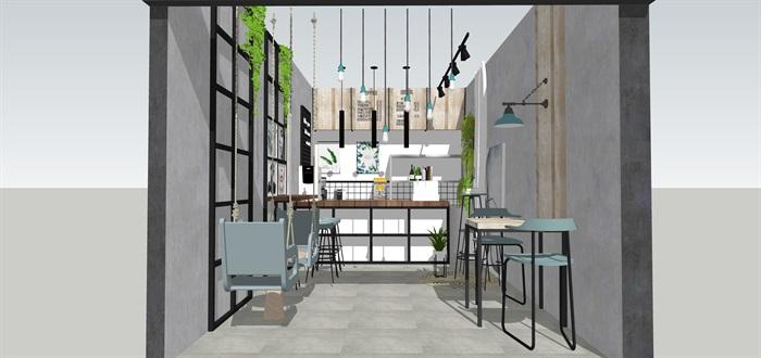 奶茶店飲品店室內素材su模型資料(1)