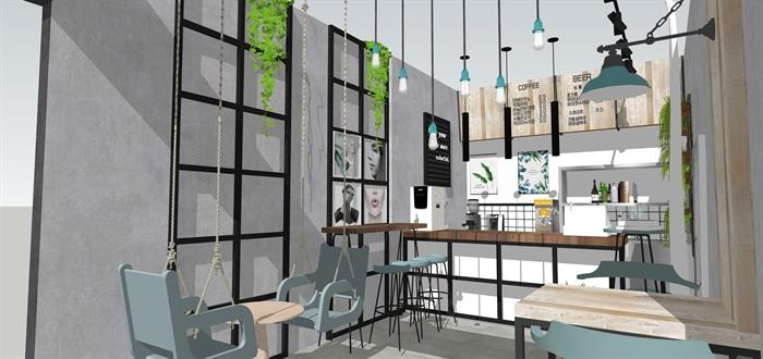 奶茶店飲品店室內素材su模型資料(2)