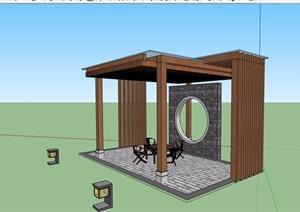 详细中式风格玻璃廊架素材设计SU(草图大师)模型