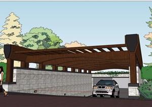 某园林景观车库廊架详细完整设计SU(草图大师)模型