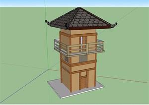 古典中式风格塔素材详细设计SU(草图大师)模型