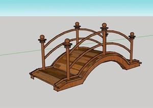 中式木质拱桥详细设计SU(草图大师)模型