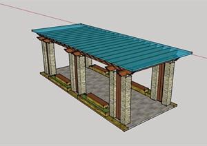 详细现代玻璃廊架景观节点设计SU(草图大师)模型