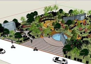 某公園完整詳細設計SU(草圖大師)模型