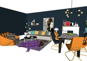 北欧室内家具摆件设计SU(草图大师)素材模型资料