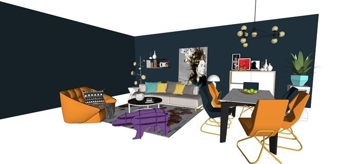 北歐室內家具擺件設計su素材模型資料(1)