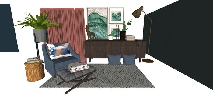 北歐室內家具擺件設計su素材模型資料(2)
