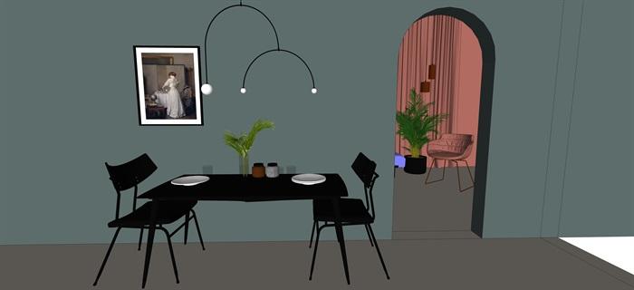 北歐室內家具擺件設計su素材模型資料(3)
