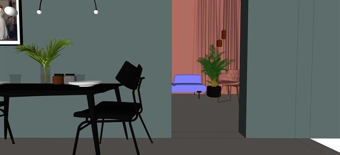 北歐室內家具擺件設計su素材模型資料(4)