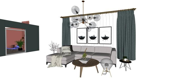 北歐室內家具擺件設計su素材模型資料(5)