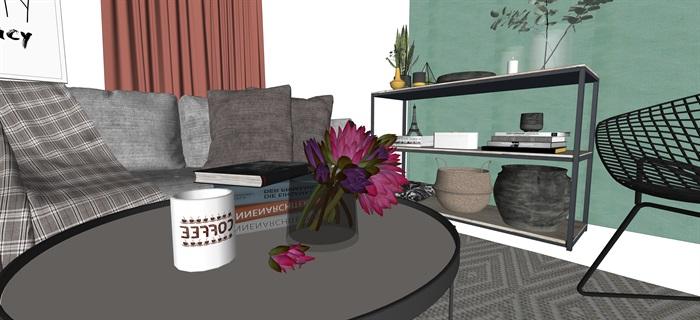 北歐室內家具擺件設計su素材模型資料(8)