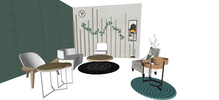 北歐室內家具擺件設計su素材模型資料(9)