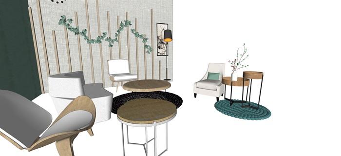 北歐室內家具擺件設計su素材模型資料(10)