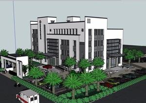 中式风格医院详细建筑设计SU(草图大师)模型