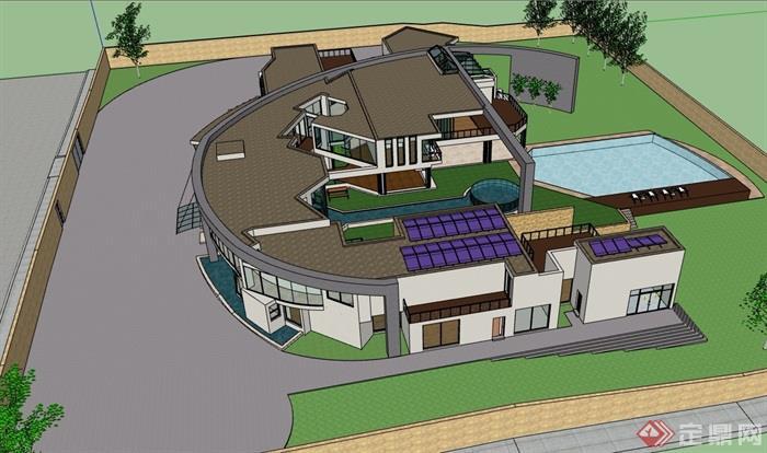 現代風格精致詳細的完整別墅設計su模型