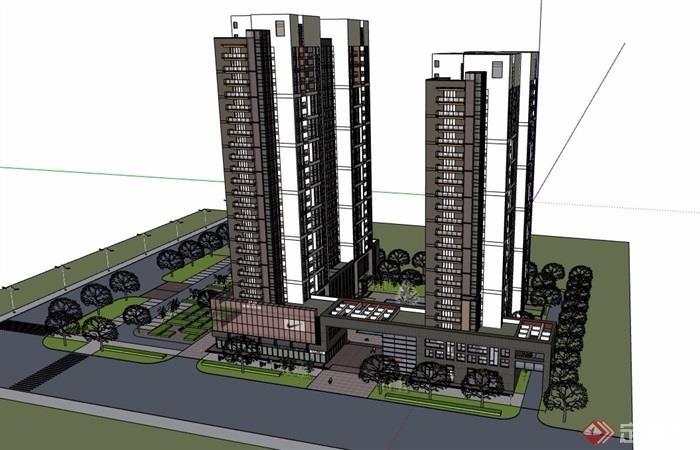 獨特詳細的商業兩棟住宅樓設計su模型