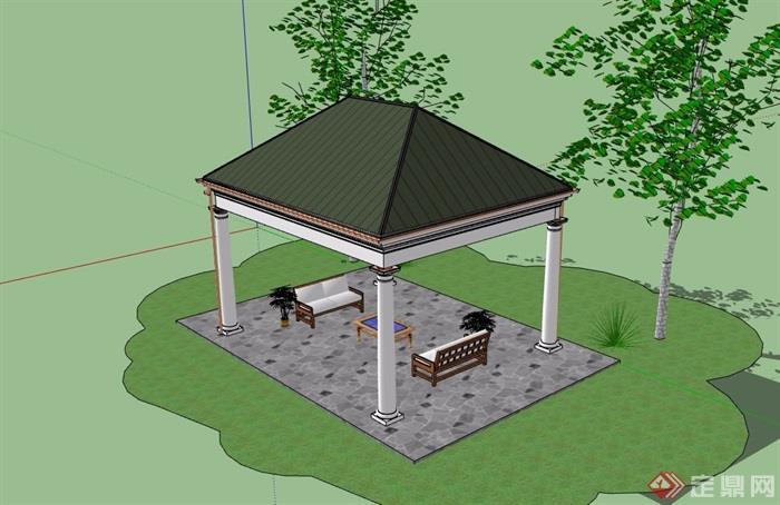 歐式園林景觀節點亭子su模型