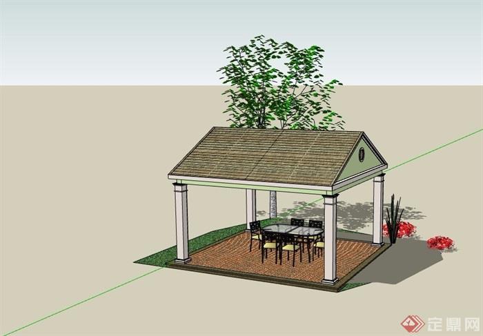 園林景觀節點歐式風格亭子su模型