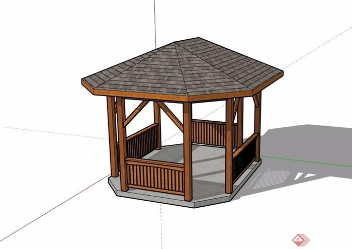 東南亞風格獨特園林景觀節點亭子su模型