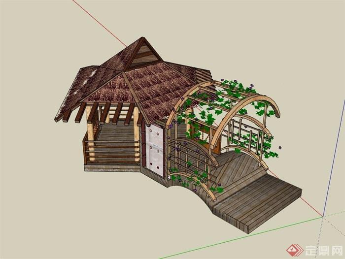 東南亞園林景觀節點茅草亭子su模型