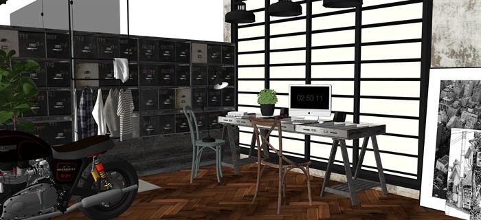 工業風家具擺設su素材模型資料(3)