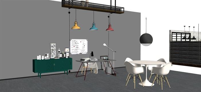 工業風家具擺設su素材模型資料(4)