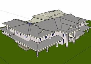 简单的会所建筑设计SU(草图大师)模型
