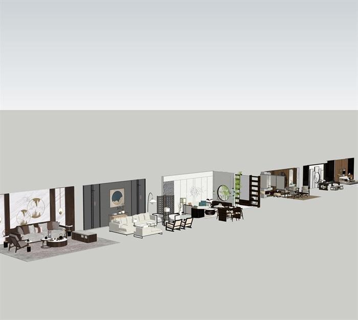 新中式室內設計家具擺件場景su模型素材(1)