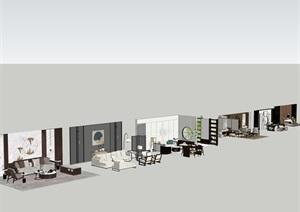 新中式室内设计家具摆件场景SU(草图大师)模型素材