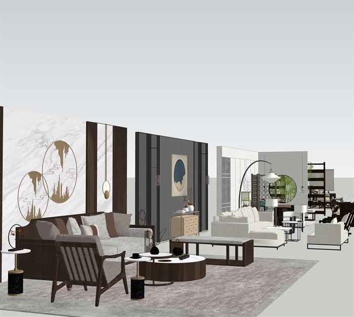 新中式室內設計家具擺件場景su模型素材(2)