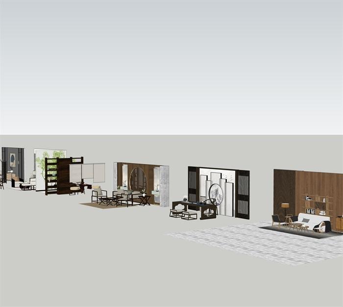 新中式室內設計家具擺件場景su模型素材(3)